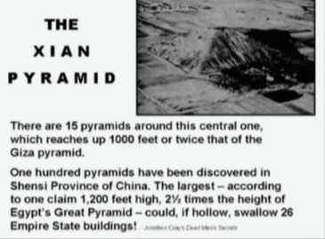 Huge pyramid the Chinese hide: Xuan. Snip from Tsarion, M., 2012, Program 1: Atlantis, Alien Visitation & Genetic Manipulation, youtube