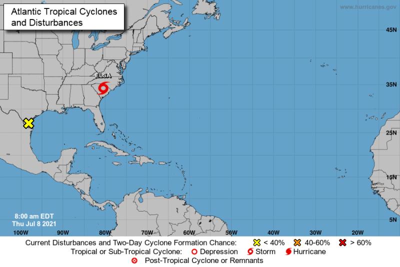 Tormenta tropical Elsa se preveen lluvias para el día de hoy en Carolina del Norte