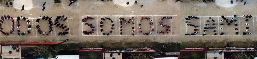 """Imágenes de la movilización zapatista iniciada la madrugada de este 20 de febrero en Defensa del Territorio y la Madre Tierra, por justicia para nuestr@s muert@s, nuestr@s desaparecid@s, nuestr@s pres@s y en contra de los megaproyectos de muerte. """"SAMIR SOMOS TODAS Y TODOS"""