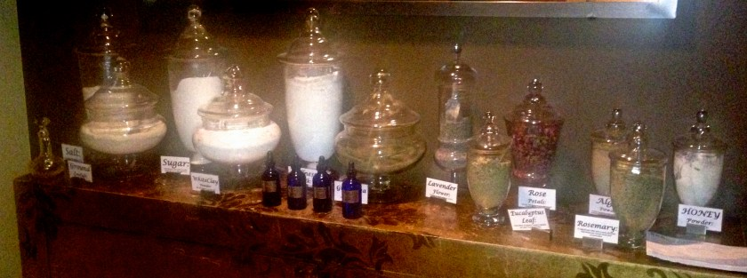Body Treatments of your choice with the Apothecary Bar. Select herbs and essential oils to create either a scrub or an exfoliating wrap to produce a glow and relief tension.