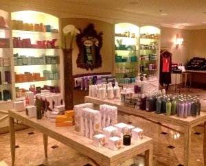 Large retail area includes all of the beauty arsenal and other carefully chosen spa products.