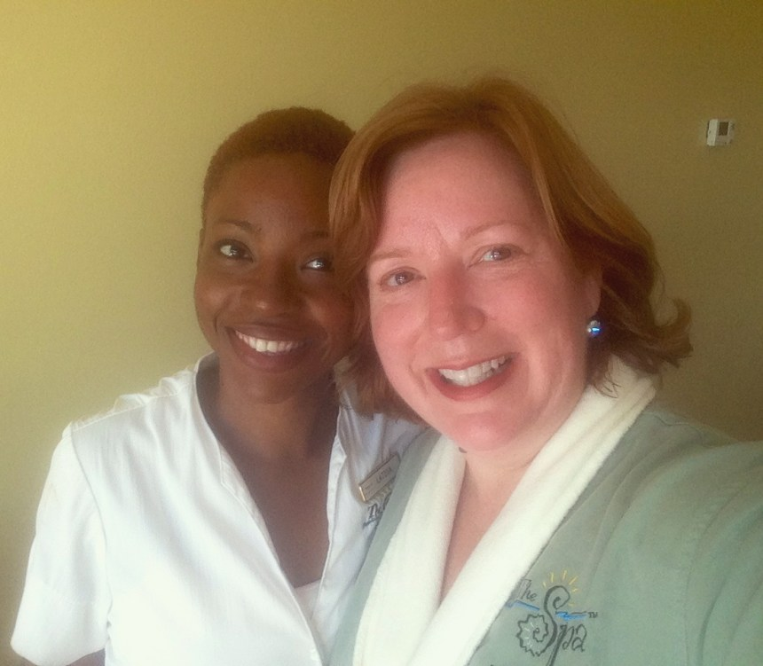 My excellent massage therapist and esthetician, Latoya.  I just loved her!