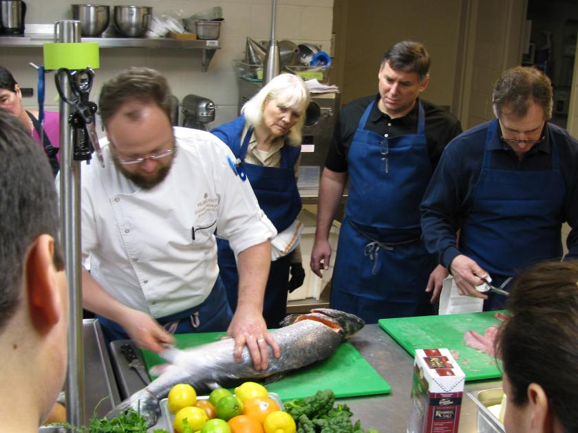 Chef Thompson shows us how to filet a salmon