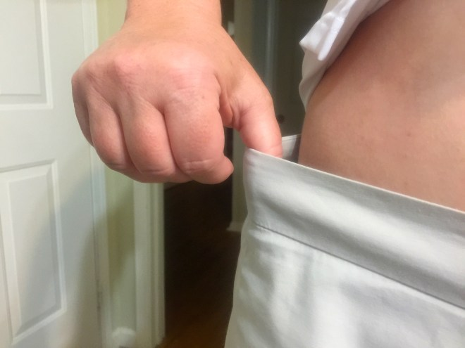 No scale, just my regular shorts gave me something tangible to measure. I really was stunned.