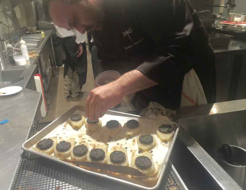 Fabien Beaufour prepares a six course chef's table for the members of Primland Resort.