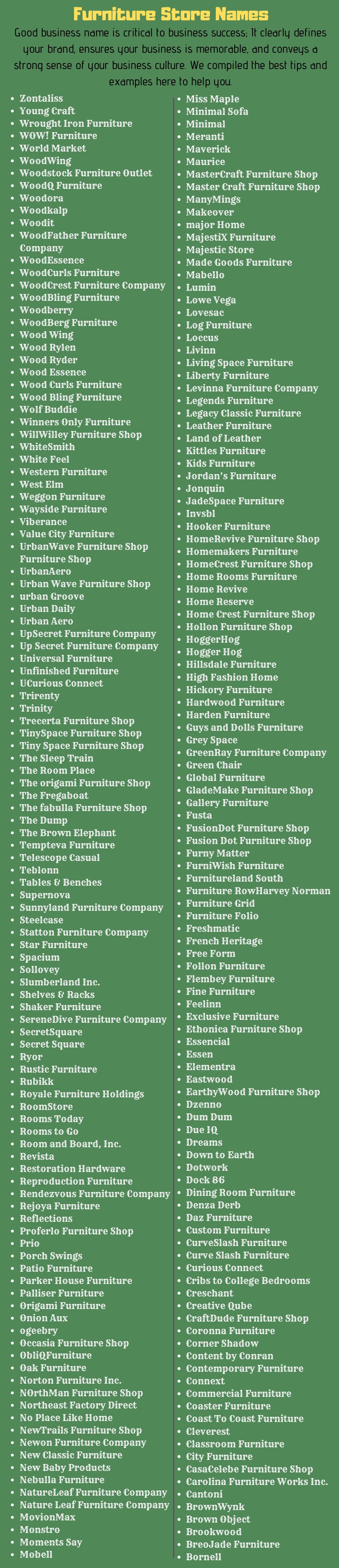 300 Attractive Name Ideas For Furniture Business