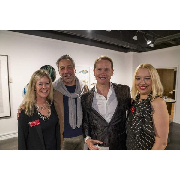 Dallas Market Center's Penni Barton (left) and Nicole Garrison (right) flank Thom Filicia and Carson Kressley, the hosts of the ARTS Awards, during the ARTS Preview Party.