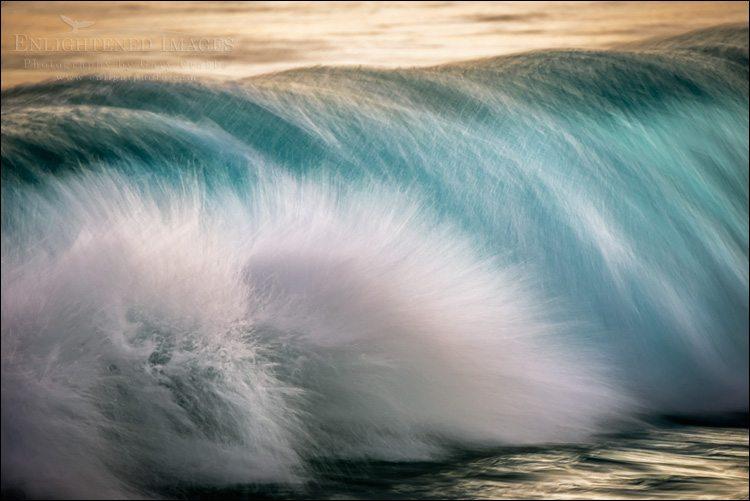 Photo: Waves breaking at sunset along the Kailua-Kona shoreline, on the Big Island of Hawaii