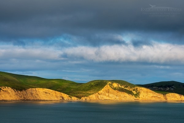 Photo: Sunlight on the cliffs of Drakes Bay, Point Reyes National Seashore, Marin County, California