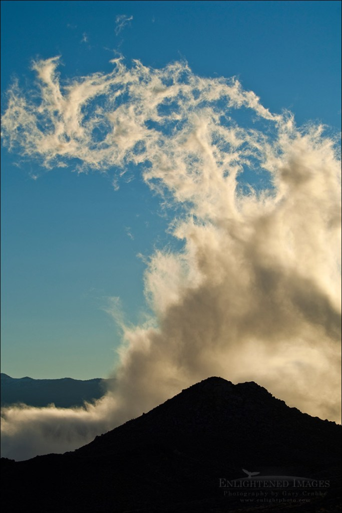 Photo: Cloud rising out of the Owens Valley at sunrise, Eastern Sierra, California