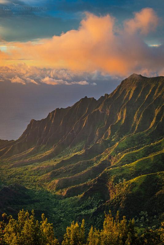 Photo: Sunset lighton the Kalalau Valley and the Na Pali Coast from Pu'u O Kila Lookout, Koke'e State Park, Kauai, Hawaii