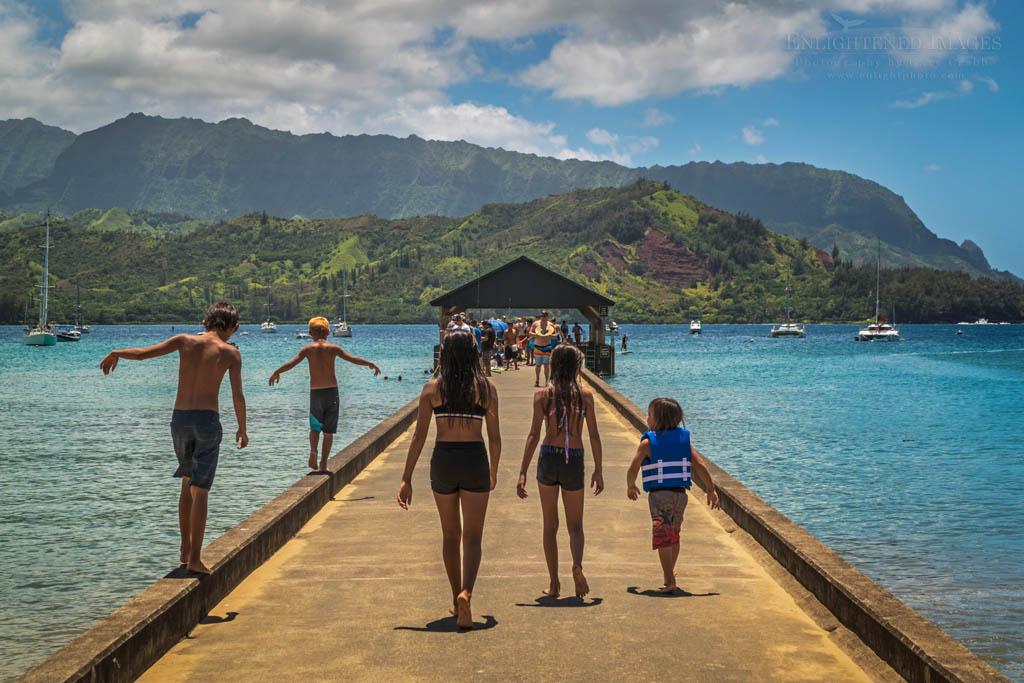 Photo: Kids on Hanalei Pier at Hanalei Bay Kauai Hawaii