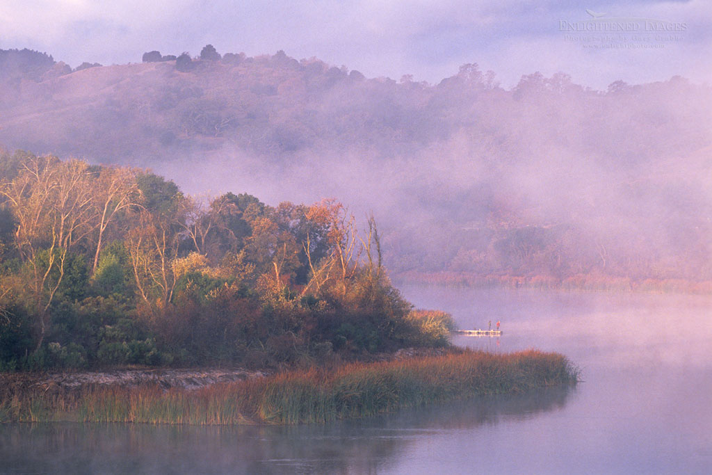 Photo: Misty morning sunrise and fisherman at the Lafayette Reservoir, Contra Costa County, California