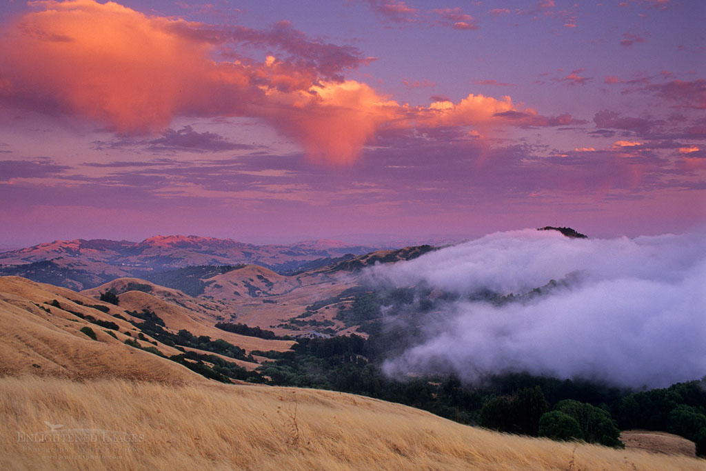 Photo: Fog rolling in over the Oakland Hills at sunset from SF Bay, near Orinda, Contra Costa County, California