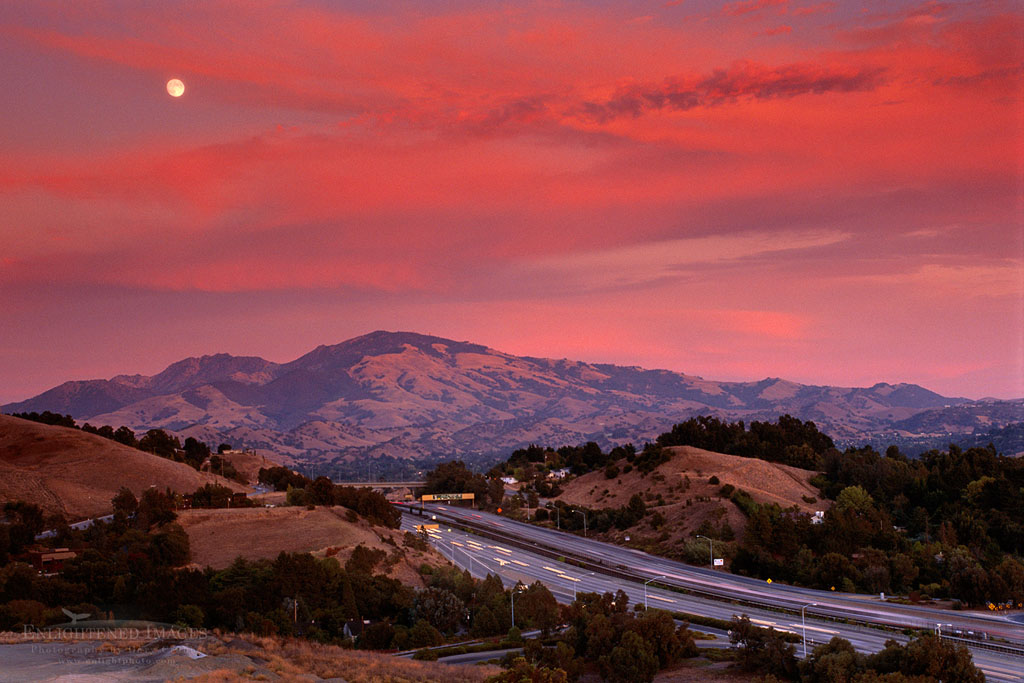 Photo: Moonrise at sunset over Mt. Diablo and freeway, Lafayette, Contra Costa County, California