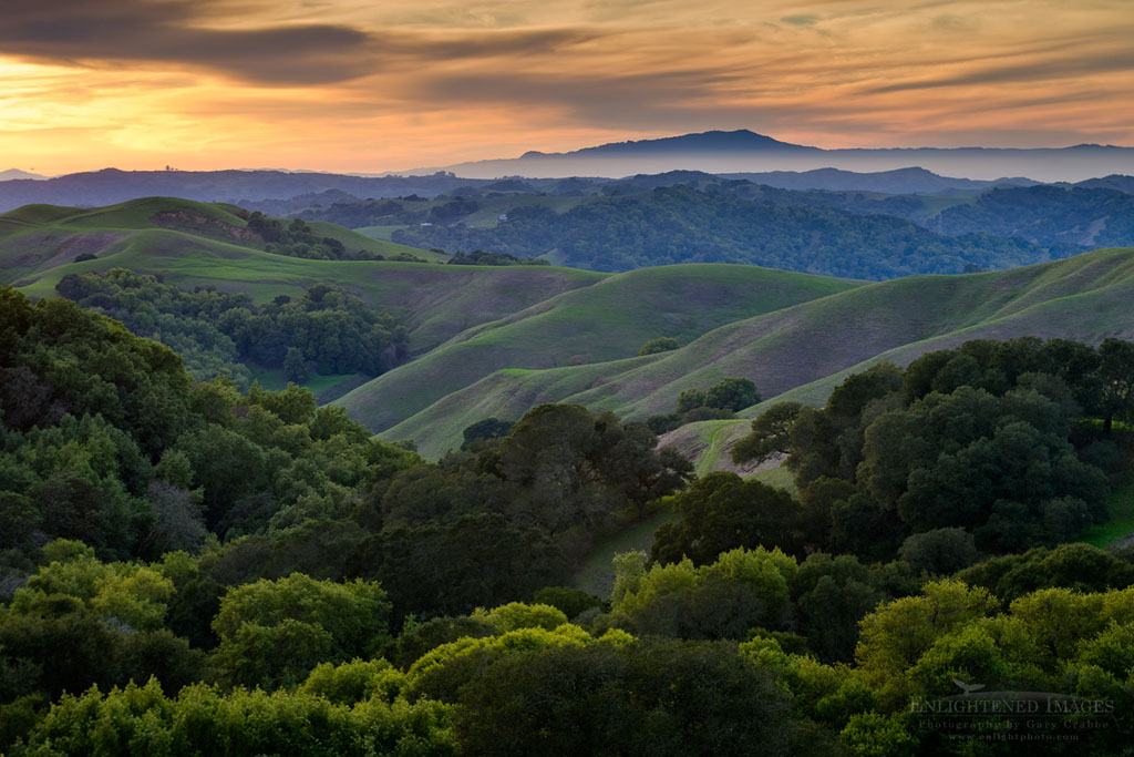 Photo: Sunset over the green east bay hills (looking toward Mount Tamalpais in distance) from Briones Regional Park, Contra Costa County, California