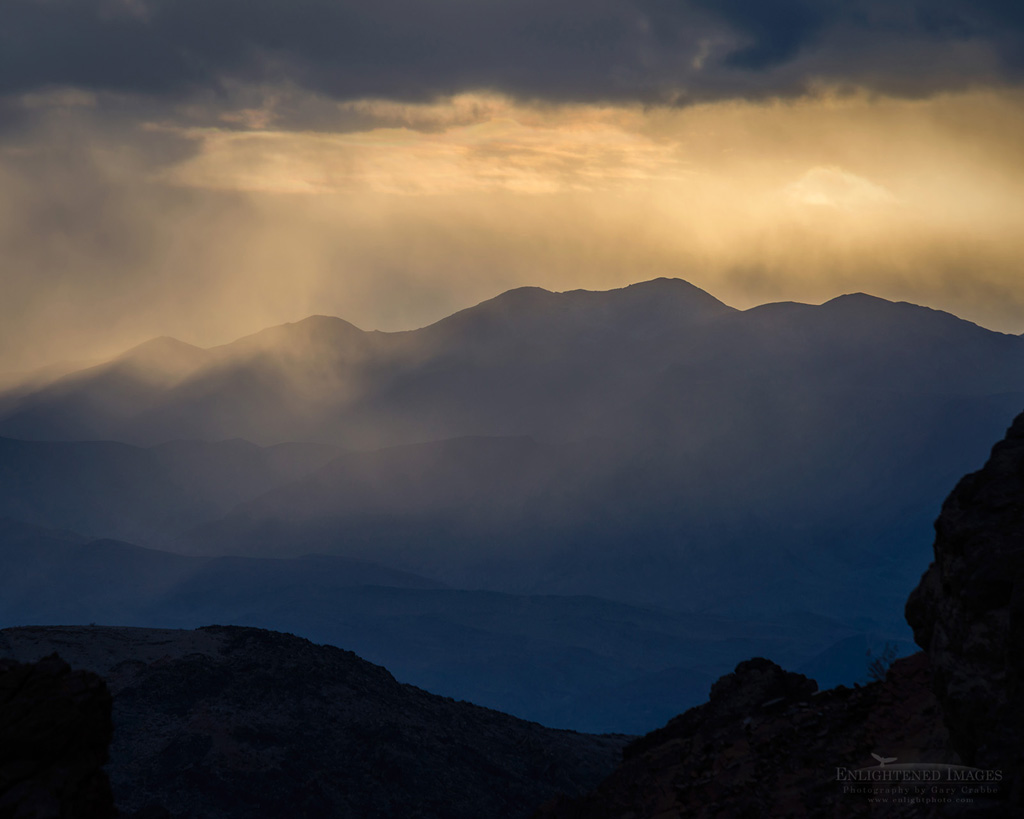Photo: Sunset and storm clouds as seen from the mouth of Titus Canyon, Death Valley National Park, California