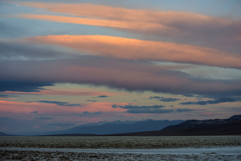 Photo: Morning light on clouds as seen from Badwater, Death Valley National Park, California