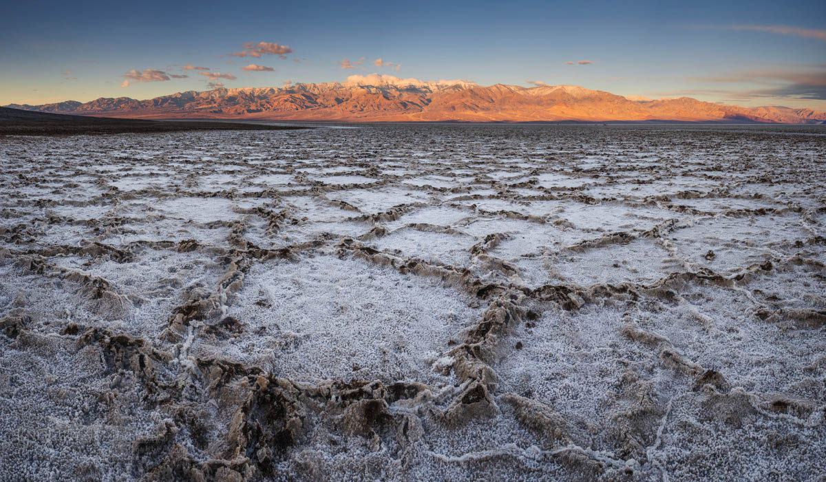 Photo: Salt polygons in playa basin at Badwater, Death Valley National Park, California