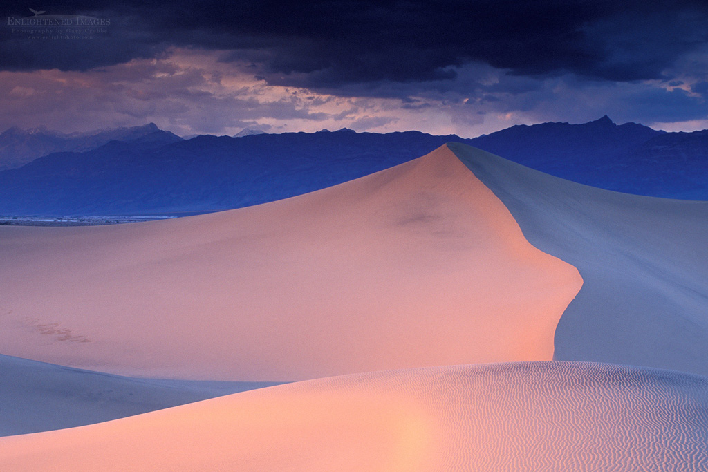 Photo: Storm clouds in evening over sand dunes and mountains, Stovepipe Wells, Death Valley National Park, California