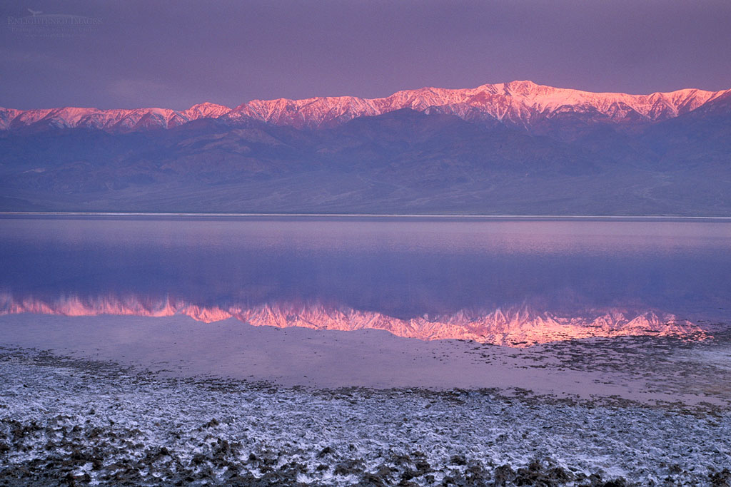 Photo: Storm clouds over Panamint Mountains and flood waters at sunrise, near Badwater, Death Valley, California