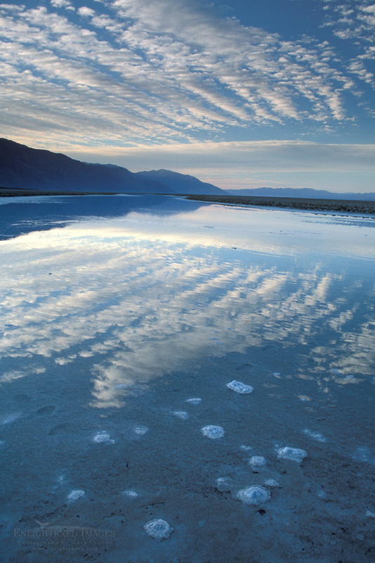 Photo: Black Mountains and flooded salt pan at sunrise, Devils Golf Course, Middle Basin, Death Valley, California
