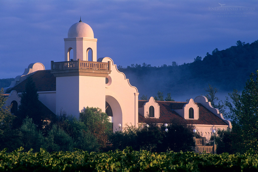 Photo: Sunrise light and storm clouds at Groth Vineyards, Oakville, Napa Valley, Napa County, Californi