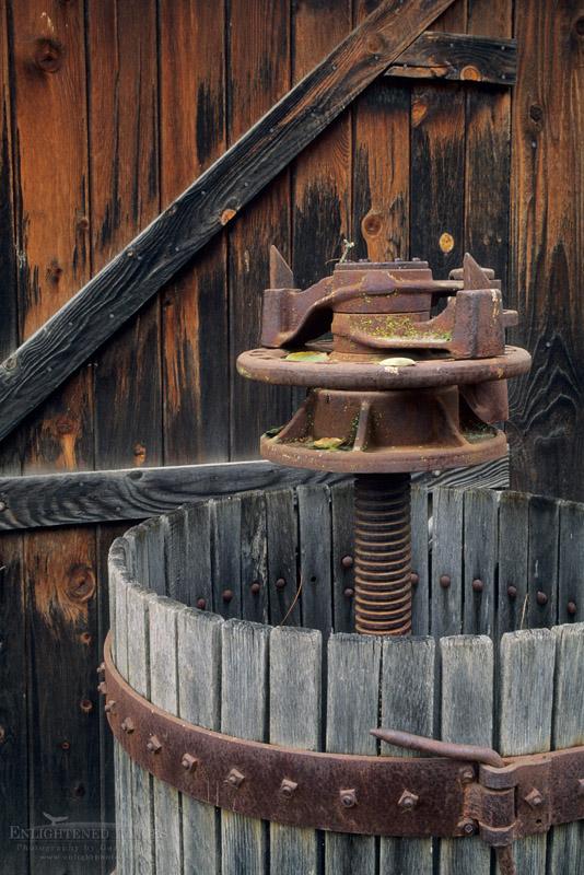 Photo: Wooden wine press at Foxen Winery and Vineyards, along Foxen Canyon Road, Santa Barbara County, California