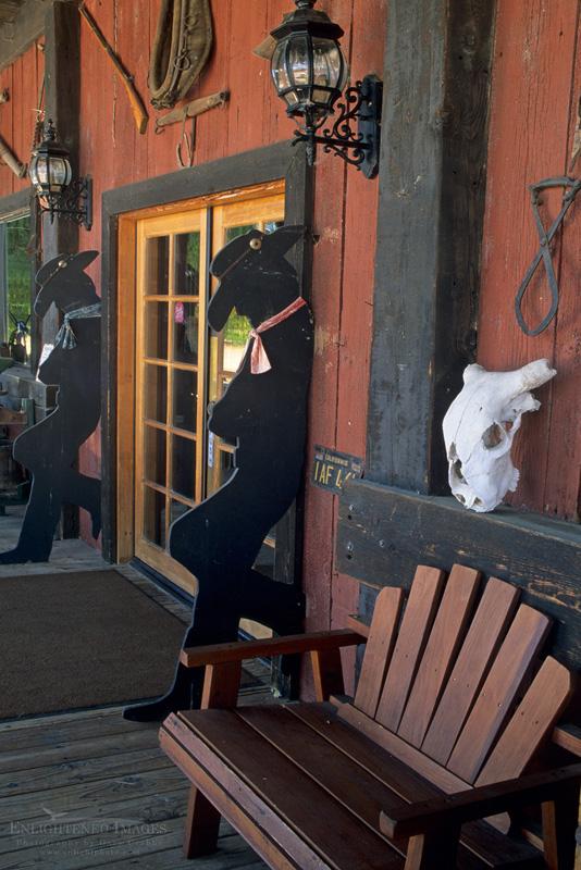 Photo: Rustic western decor at entrance to Tobin James Cellars, Paso Robles, San Luis Obispo County, California