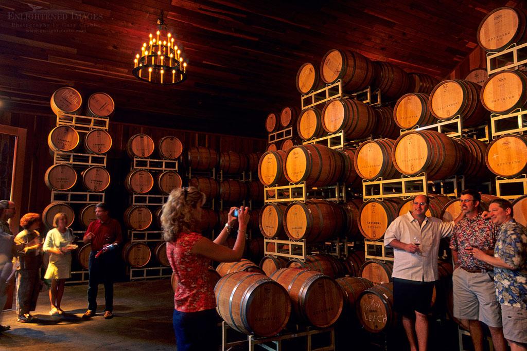 Photo: Wine barrels in tasting room at Lambert Bridge Winery, Dry Creek Road, Sonoma County, California