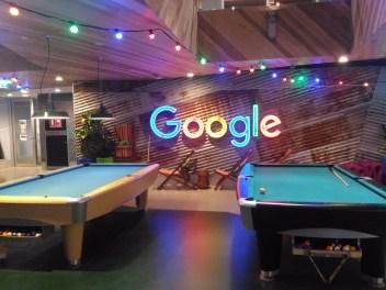 Billiard Pool with shining Google Logo