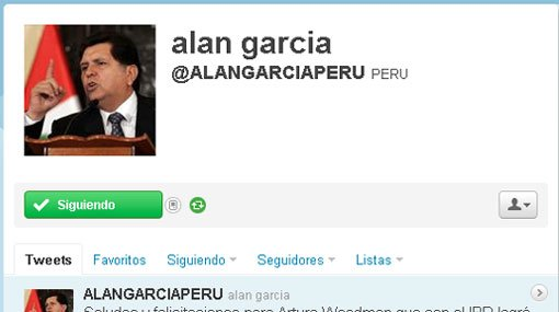 Alan García en la onda Twitter
