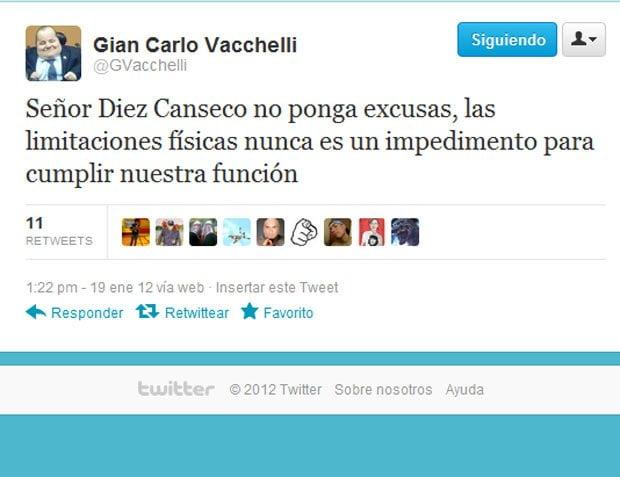 Twitt de Gian Carlo Vacchelli