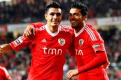 Cardozo celebra victoria del Benfica
