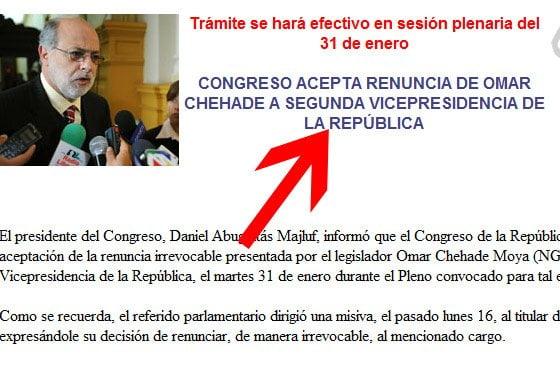 Congreso informó sobre Omar Chehade
