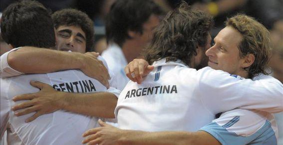 Argentina celebra el pase a cuartos de final del Grupo Mundial de la Copa Davis