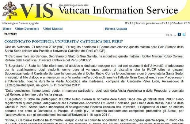 Comunicado de la Santa Sede