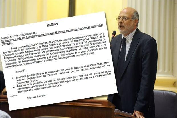 Acuerdo de Mesa que suspende a empleado de confianza de Abugattás