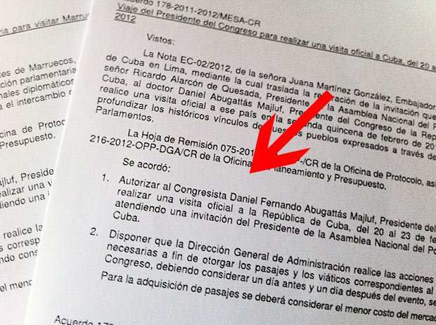Documentos que autorizan viajes de Daniel Abugattás