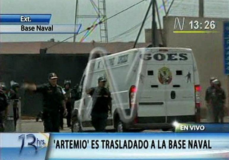 A las 13:25 de la tarde ingresó Artemio a la Base Naval del Callao