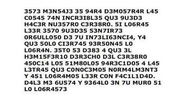 Ejercicio cerebral, intenta leer este juego de números y letras