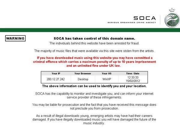 Mensaje en sitio web cerrado por el Reino Unido