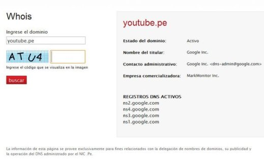 Ficha de compra de dominio Youtube.pe
