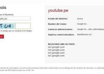 Ficha de compra de dominio Youtube.pe