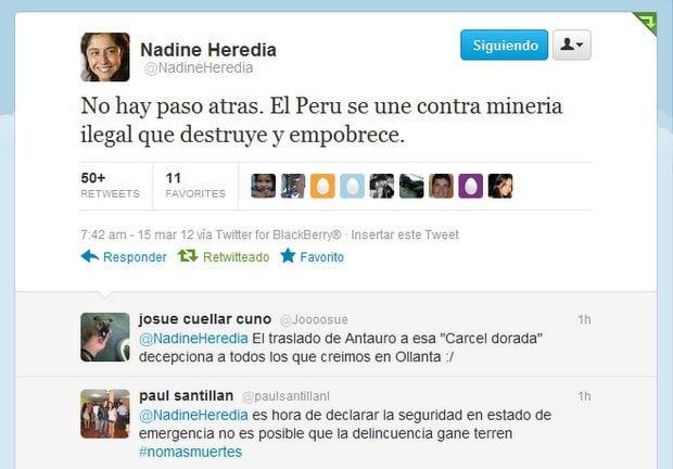 Nadine Heredia en Twitter