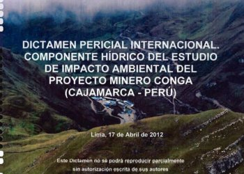 Tapa del documento peritaje del proyecto Conga