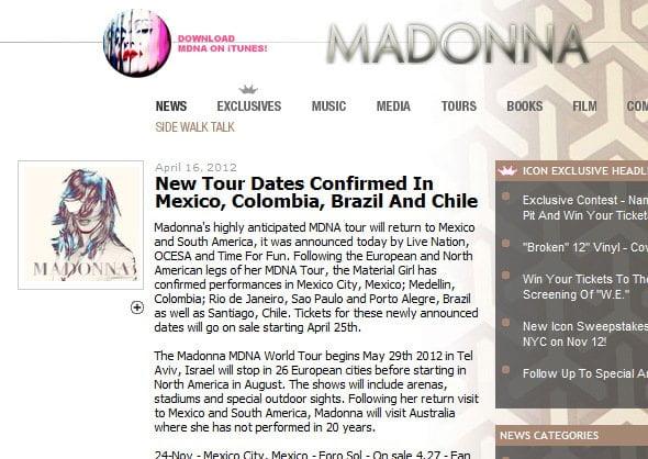 Sitio web de Madonna