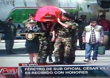 Llegada del suboficial César Vilca como un héroe