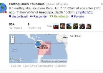 Sismo en Arequipa, reporte USGS, NOAA, GEOFON