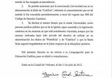Decisión del Vaticano sobre la PUCP